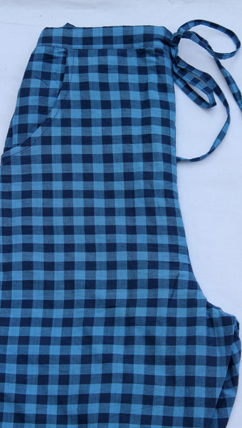 Blue gingham casual pant