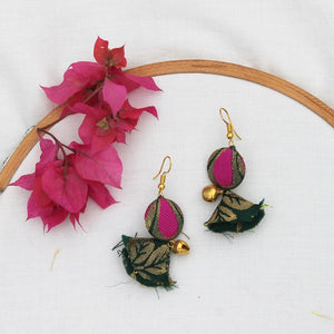 Silk Green tassel earring
