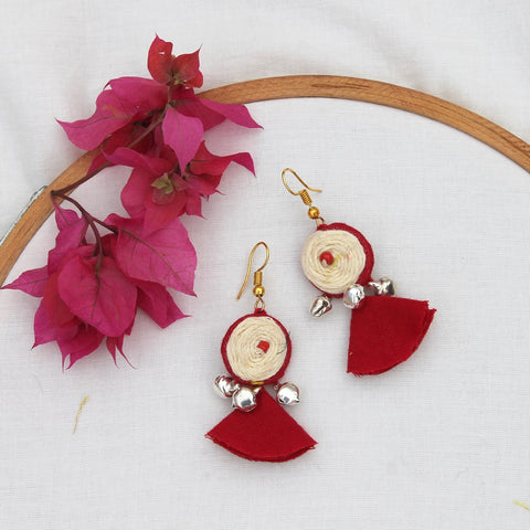 Rose red tassel earring