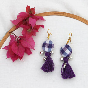 Check purple tassel earring