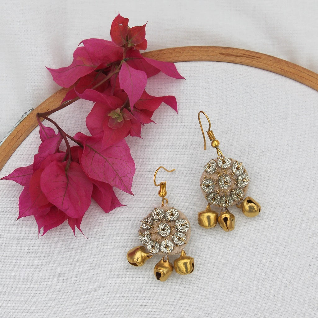 Gold sequin earring