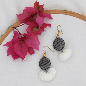 Grey shell earring