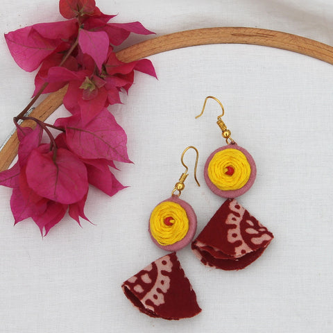 Yellow rose tassel earring