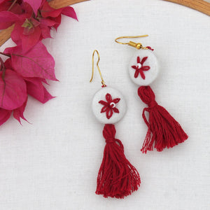 Lily red tassel earring