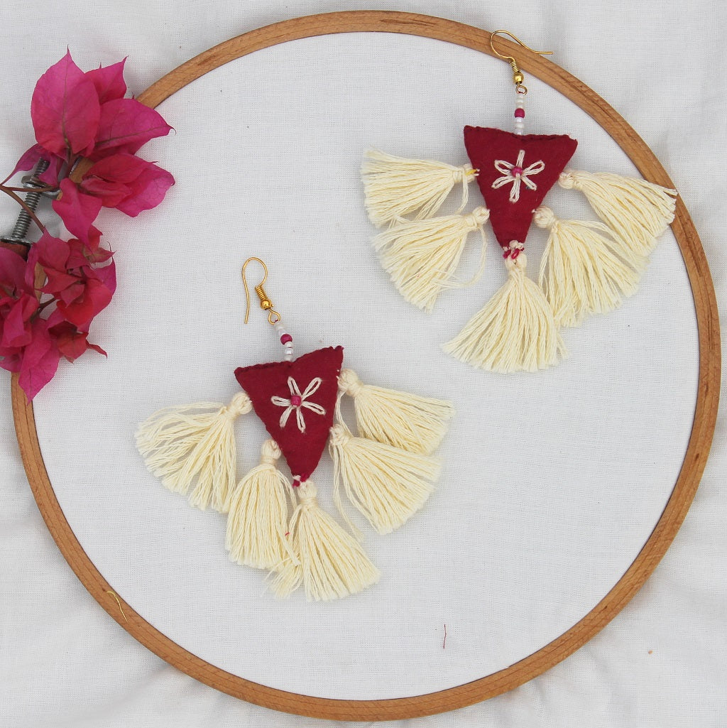 Ecru tassel quirky earring
