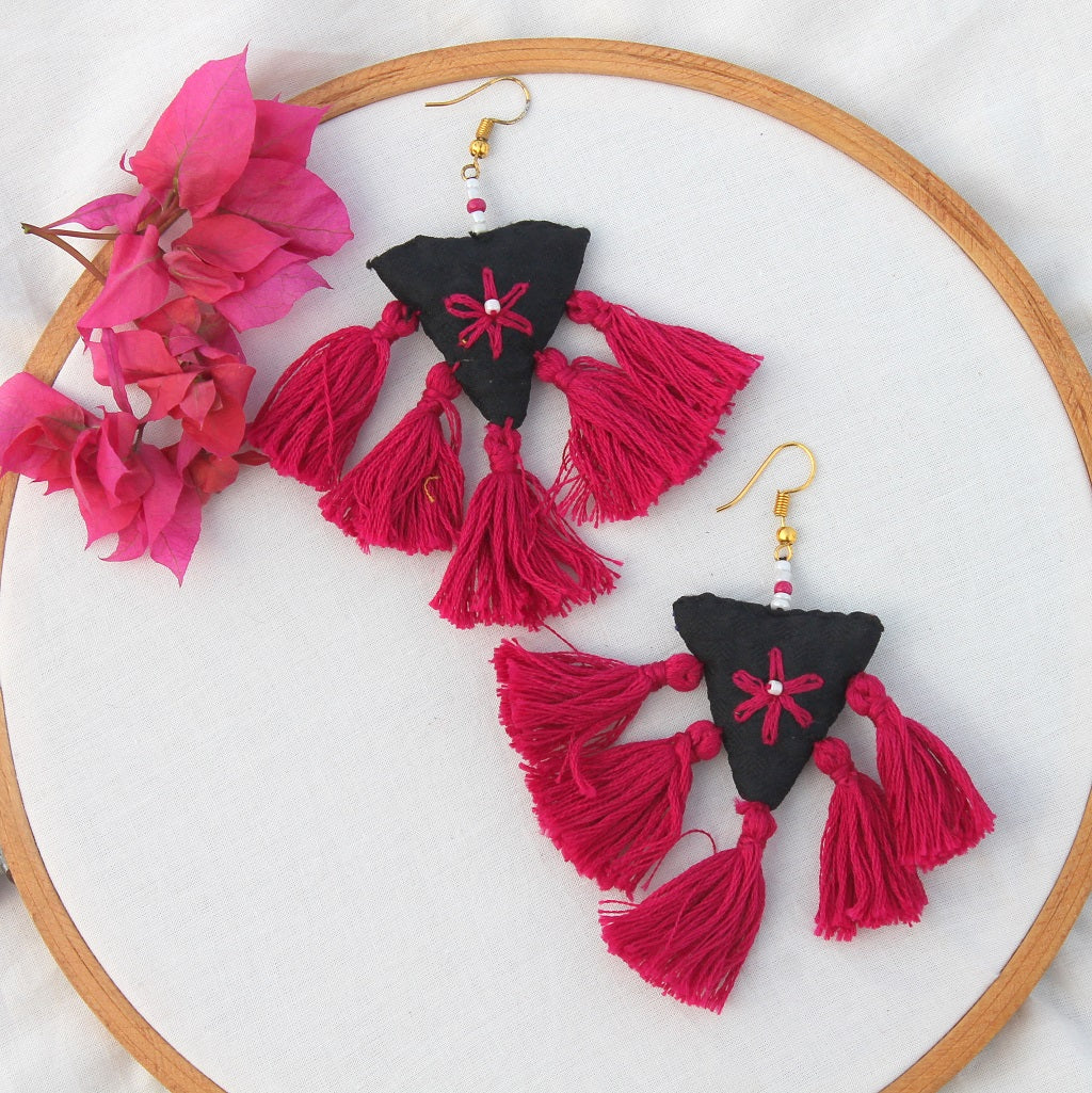 Pink tassel quirky earring