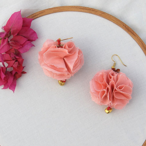 Peach floral quirky earring
