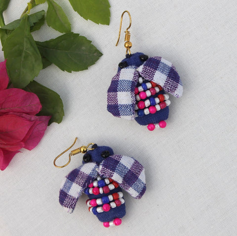 Gingham bee earring
