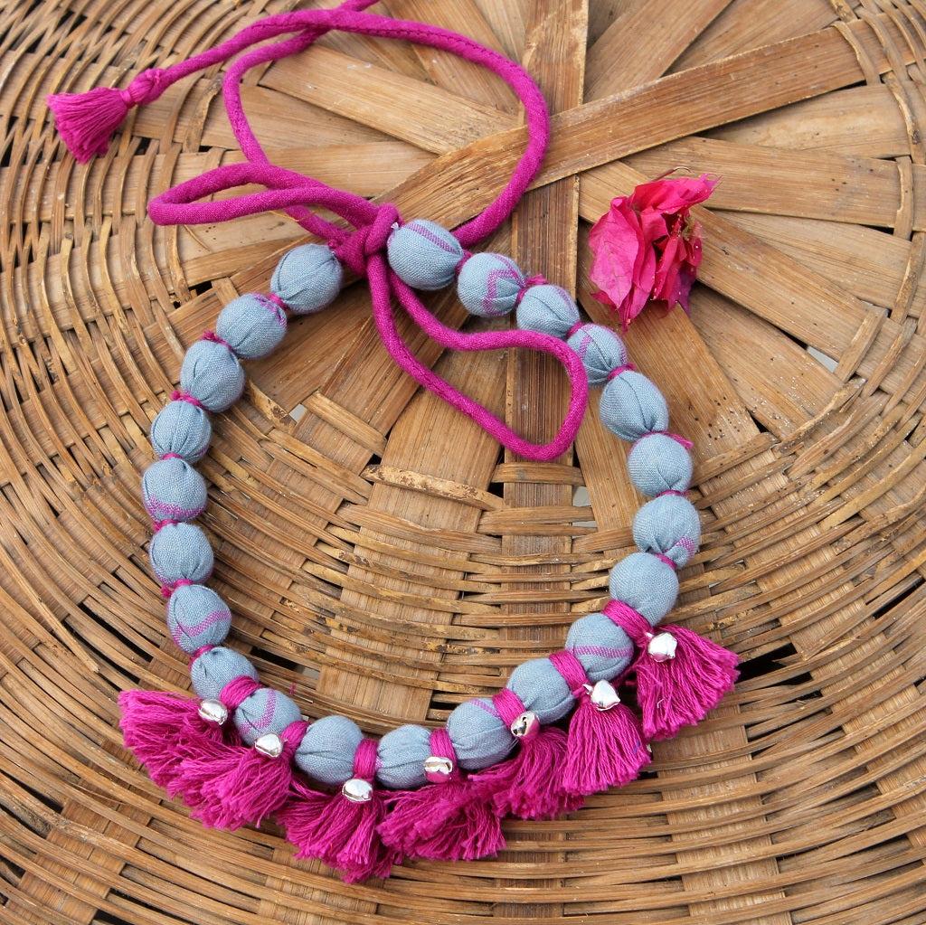 Grey pink tassel necklace