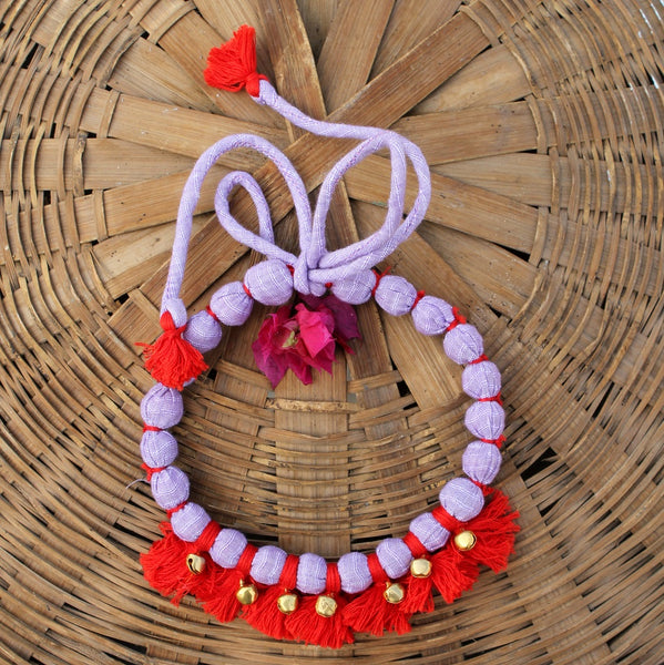 Purple red tassel necklace
