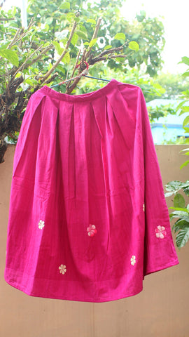 Embroidered Magenta pleat skirt