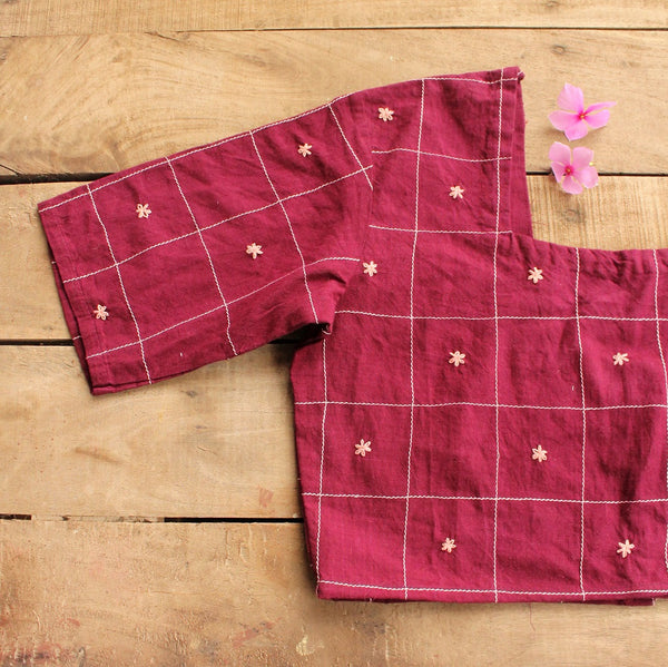 Maroon boxy crop top