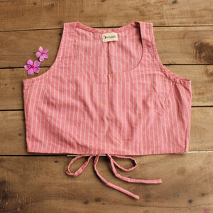 Pink striped crop top available online at www.bebaakstudio.com