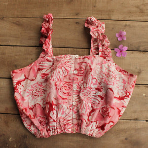 Floral pink crop top online at www.bebaakstudio.com