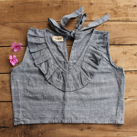 Polka crop top: Deep Grey online at bebaakstudio.com