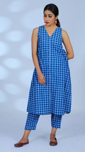 Gingham blue tunic 2 pc set