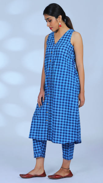 Gingham blue tunic 3 pc set