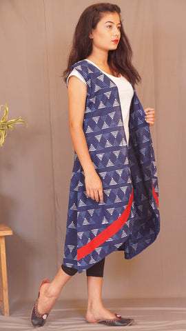 Geometry kantha Indigo shrug by bebaak