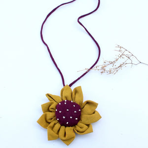 Sunflower upcycled necklace online available at bebaakstudio.com