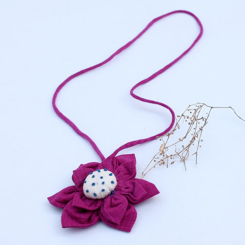 Pink floral pendant necklace online available at bebaakstudio.com