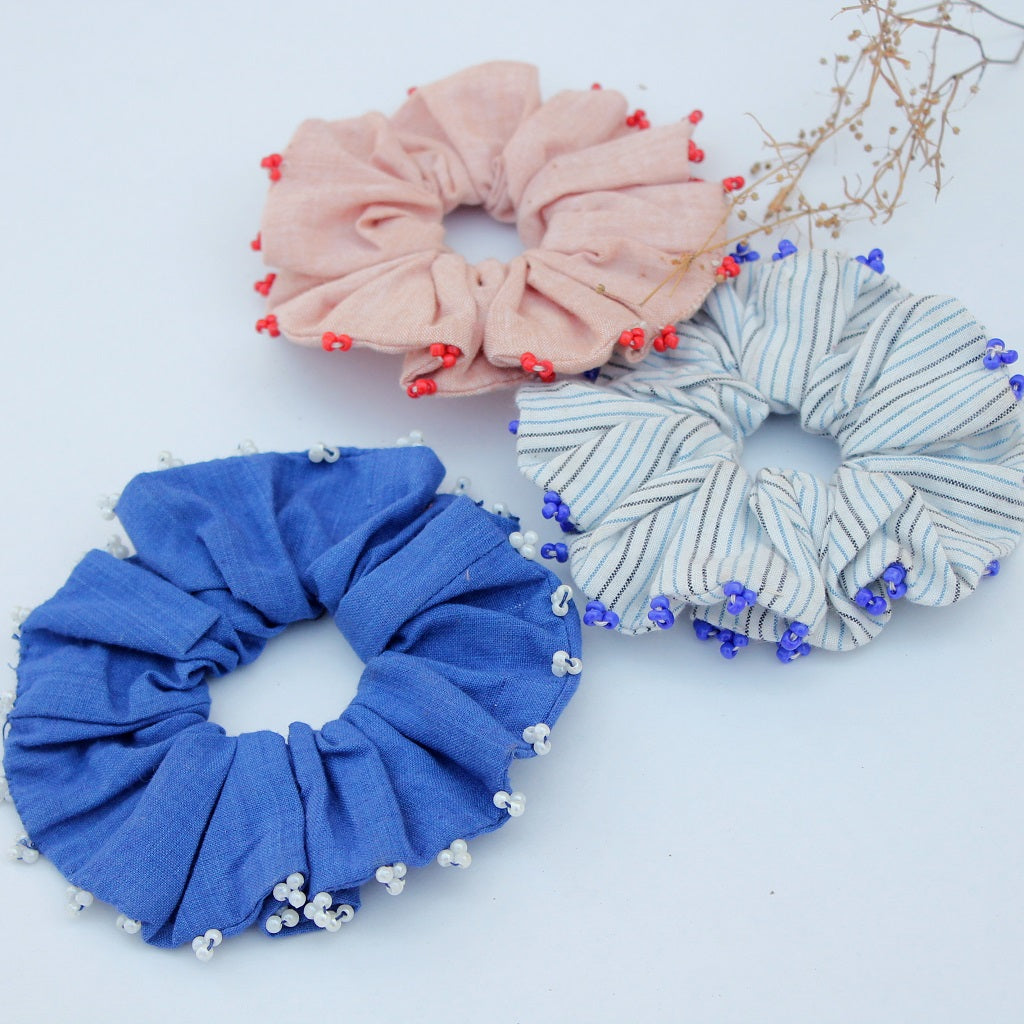 Blues scrunchies online available at bebaakstudio.com