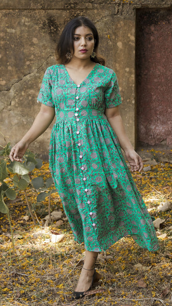 Block printed ocean green button down dress
