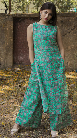Block printed ocean green sleeveless kurta & palazzo: Set of 2