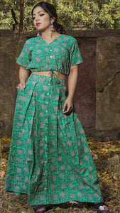 Block printed ocean green crop top and skirt: Set of 2