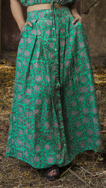 Green block print button down skirt