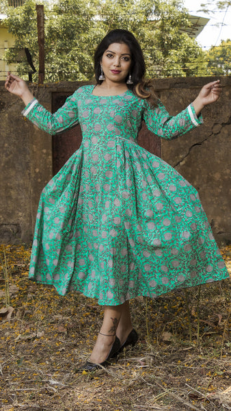 Block printed ocean green side gathered dress