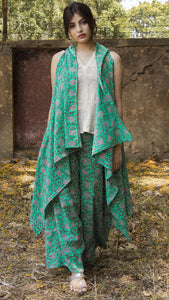 Block printed ocean green asymmetrical shrug ,palazzo and top set