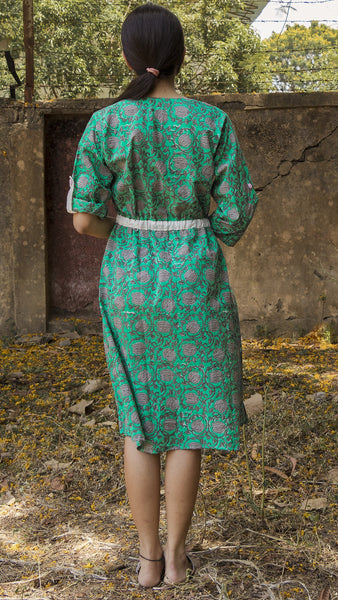 Block printed ocean green midi dress with drawstring
