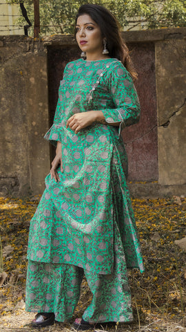 Block printed ocean green straight fit kurta & palazzo: Set of 3