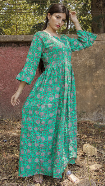 Block printed ocean green maxi Dress with frilled sleeve