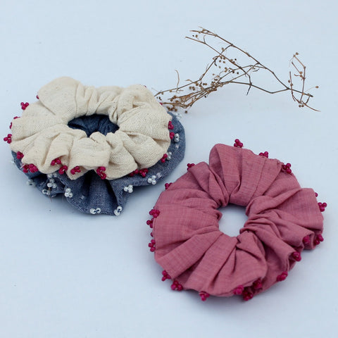 Cotton Pastel scrunchie online available at bebaakstudio.com