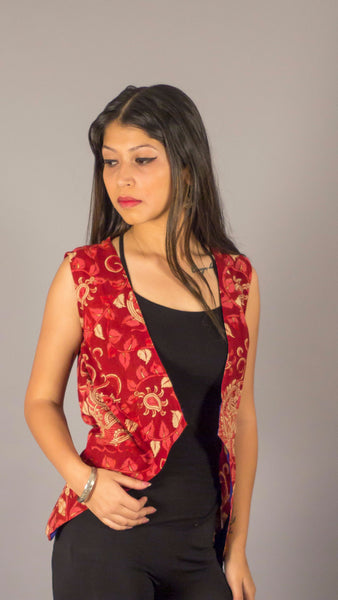 Maroon kalamkari cotton sleeveless casual shrug