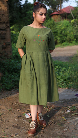 Embroidered Olive green cotton short dress online at bebaakstudio