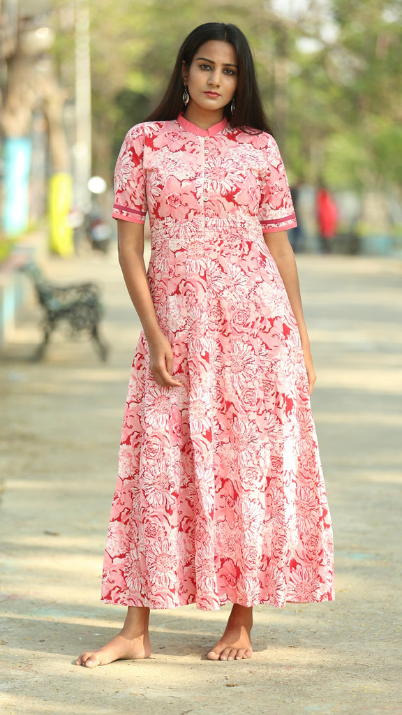 Floral pink panel dress online at bebaakstudio.com