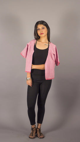 Pink check handwoven cotton casual jacket