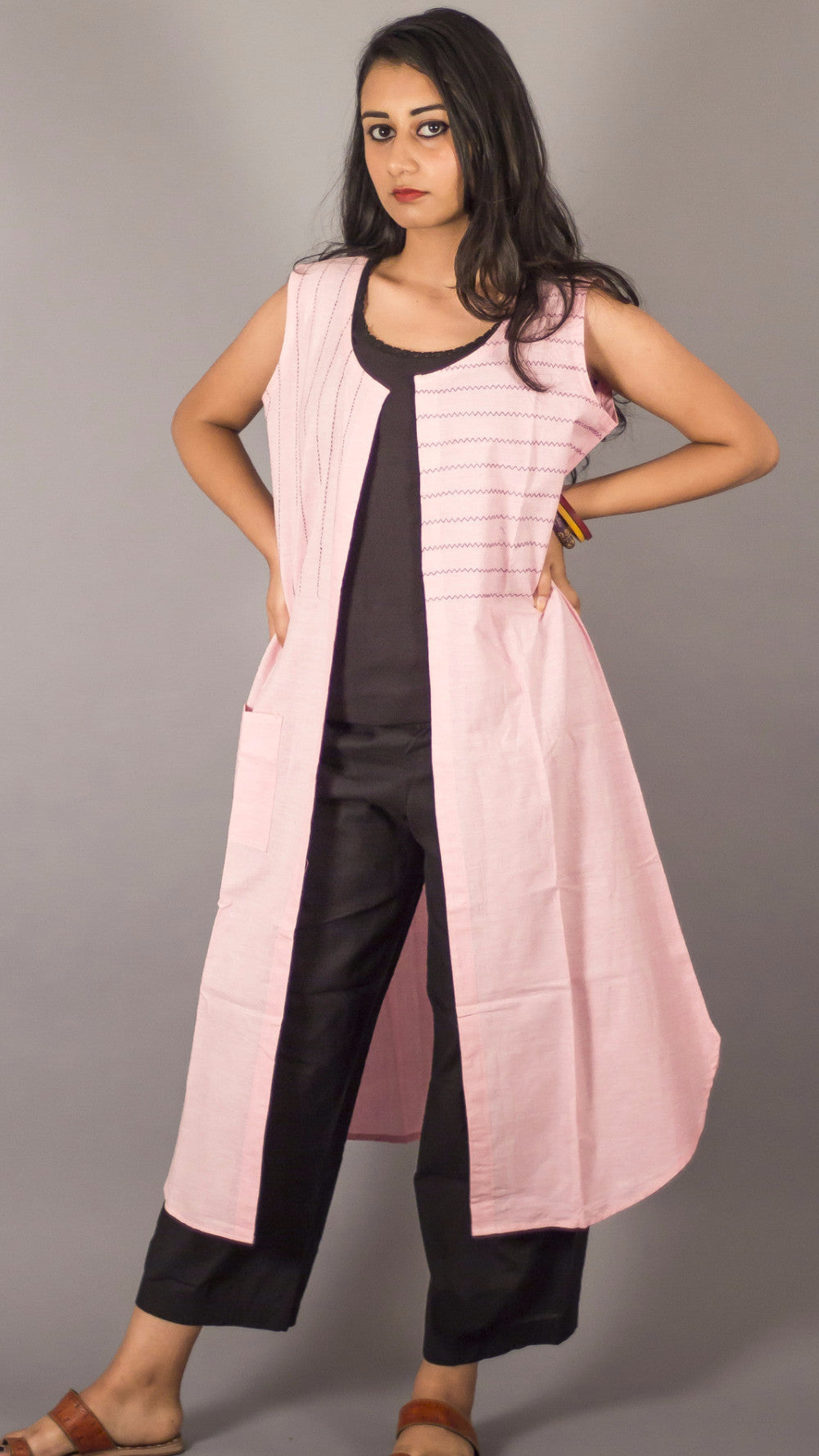 Pink handwoven cotton embroidered long shrug