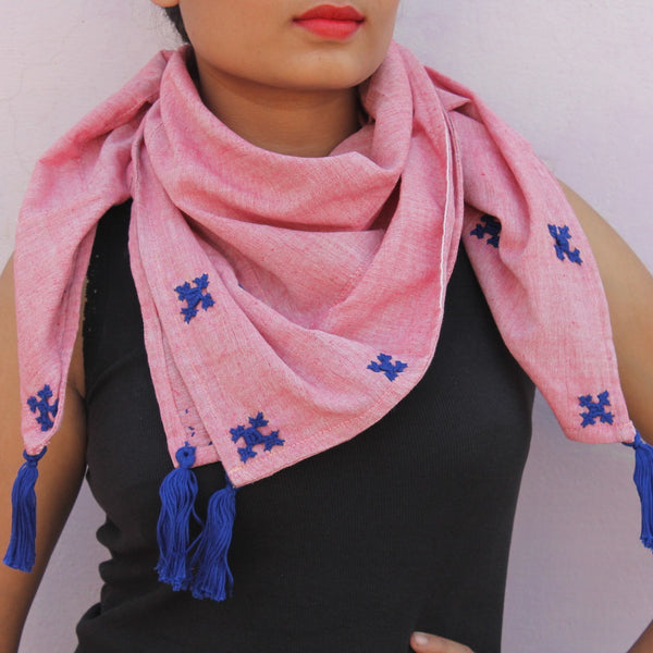 Pink embroidered handwoven cotton gamchha scarf