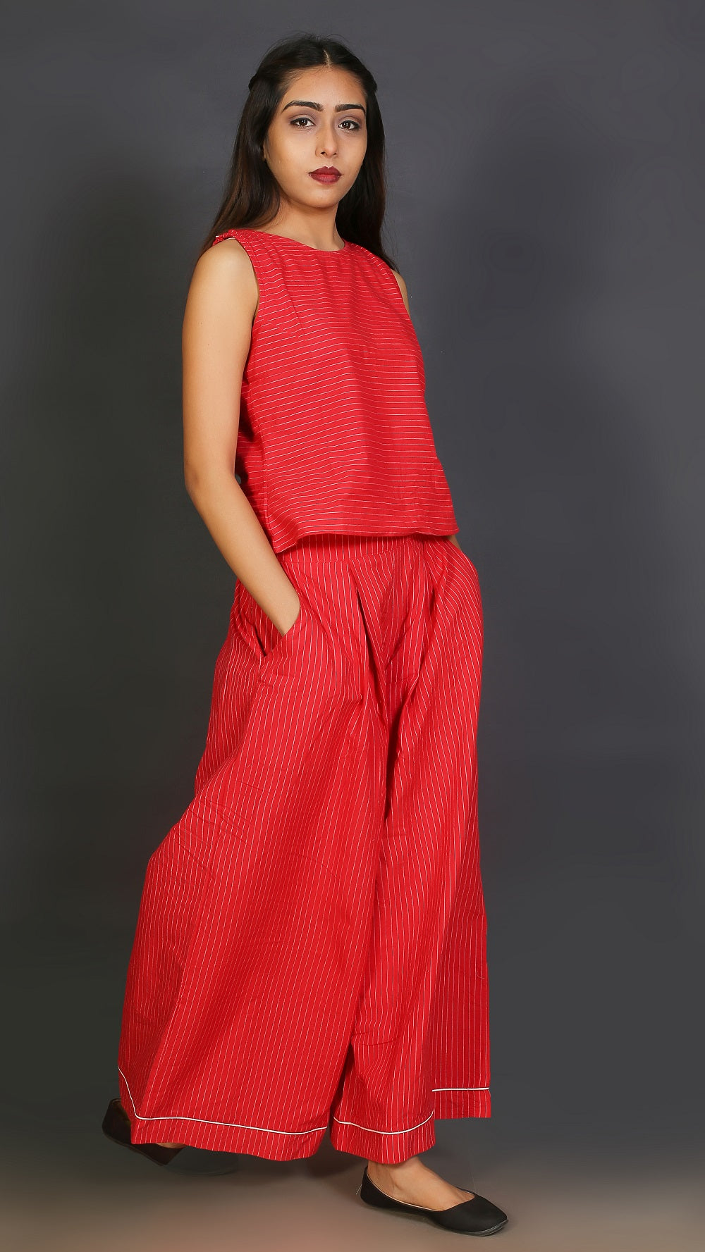 Red cotton crop top and palazzo