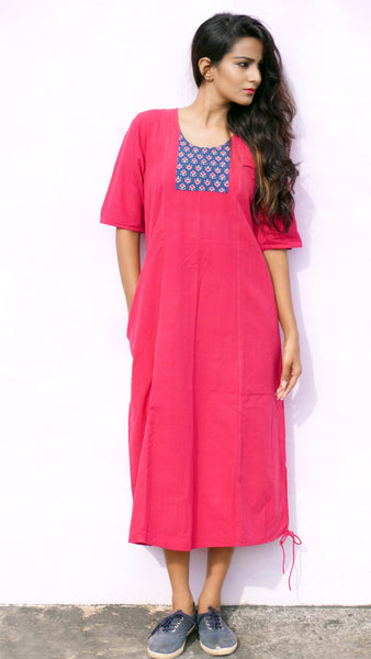 Red handwoven cotton A-line casual dress