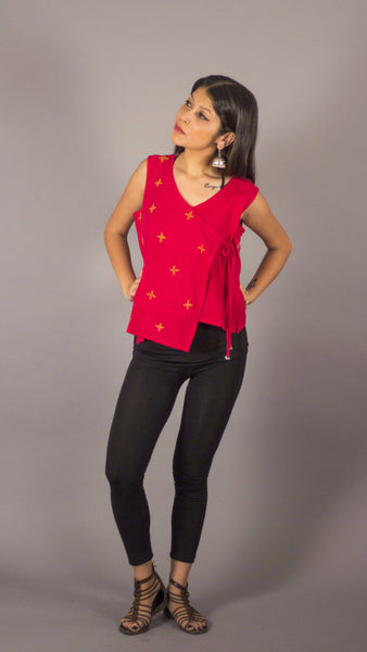 Red handwoven embroidered angrakha style sleeveless casual jacket