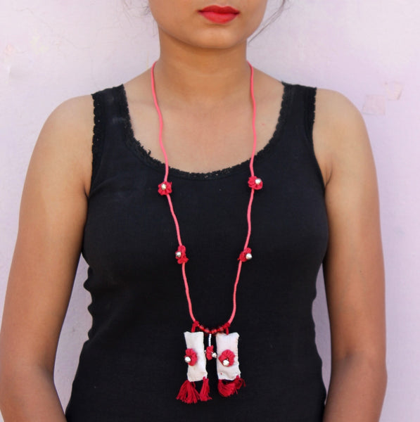 Red up-cycled textile jewelry by bebaak