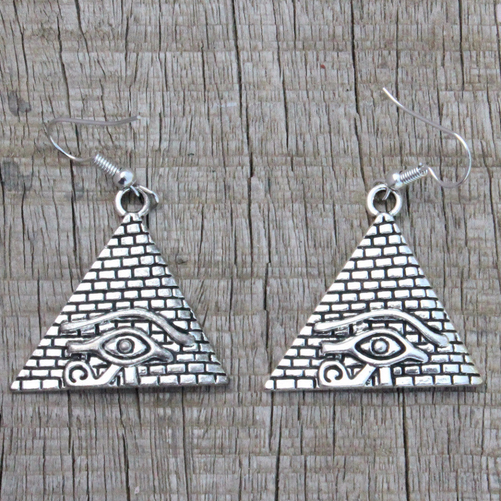 Earrings: Triangles  shape and silver tone