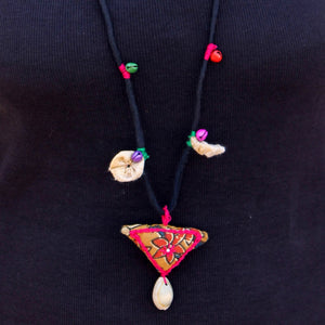 Boho bird up-cycled textile pendant necklace