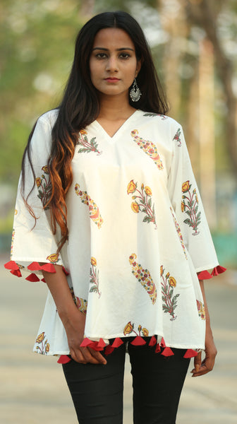 Mughal print off white flare top online at bebaakstudio.com
