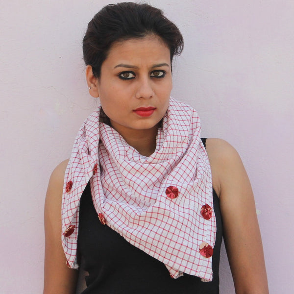 White checks handwoven cotton gamchha scarf by bebaak