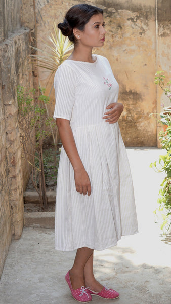 Embroidered White cotton short dress online at bebaakstudio